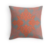 Burnt Orange, Coral & Grey doodle pattern Throw Pillow