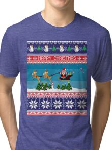 Happy Christmas, Santa Throw Snow, Santa Coming Tri-blend T-Shirt