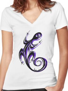Gecko Shadow Women's Fitted V-Neck T-Shirt