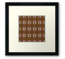 Pattern of hexagons white on brown Framed Print