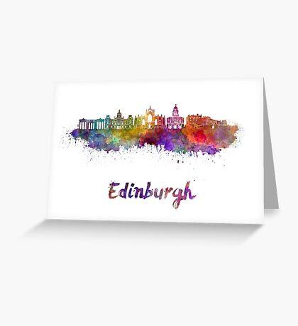 Edinburgh skyline in watercolor Greeting Card