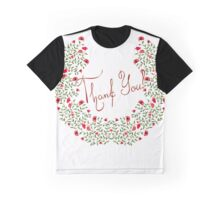 Abstract vector flowers. Words of thanks to the colors. Thank you. Graphic T-Shirt