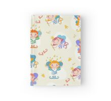 Vector illustration of cartoon girls fairies. Fairy with a magic wand and the stars of heaven. Hardcover Journal