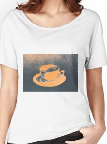 Colorful drawing of coffee cup and saucer Women's Relaxed Fit T-Shirt