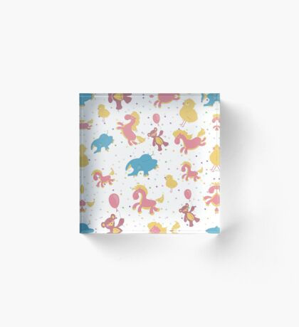 Children illustration of seamless background with colored stars, pink rocking horse, Teddy bear on a balloon, blue elephant, chicken. Acrylic Block