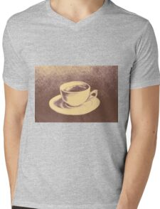 Colorful drawing of coffee cup and saucer Mens V-Neck T-Shirt