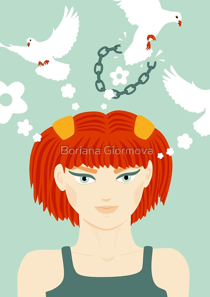 Art print with a vector illustration of a girl and her thoughts shaped as doves breaking free from any chains that may try to mind them.
