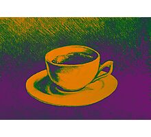 Colorful drawing of coffee cup and saucer Photographic Print