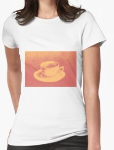 Colorful drawing of coffee cup and saucer Womens Fitted T-Shirt