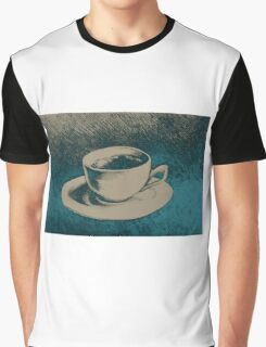 Colorful drawing of coffee cup and saucer Graphic T-Shirt