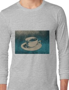 Colorful drawing of coffee cup and saucer Long Sleeve T-Shirt
