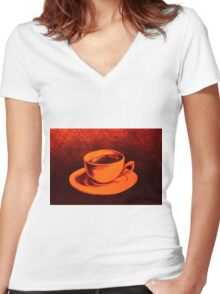 Colorful drawing of coffee cup and saucer Women's Fitted V-Neck T-Shirt