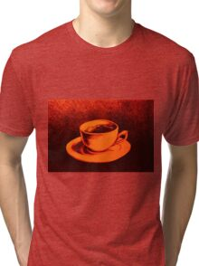 Colorful drawing of coffee cup and saucer Tri-blend T-Shirt