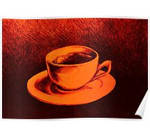 Colorful drawing of coffee cup and saucer Poster