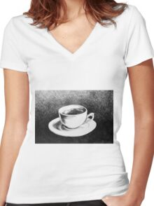 Drawing of coffee cup and saucer Women's Fitted V-Neck T-Shirt