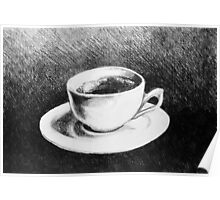 Drawing of coffee cup and saucer Poster