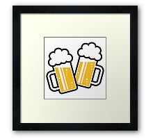 2 Clinking Beer Glasses For A Cheer! Framed Print