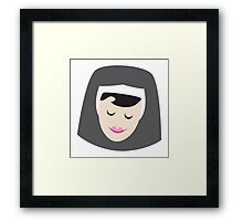 a smiling simple nun in a wimple Framed Print