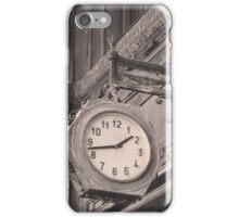 Sepia photography of old street clock and classical building facade iPhone Case/Skin