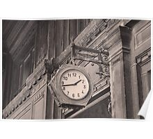 Sepia photography of old street clock and classical building facade Poster