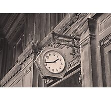 Sepia photography of old street clock and classical building facade Photographic Print