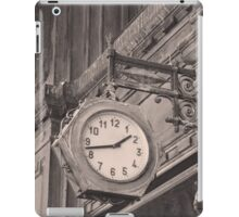 Sepia photography of old street clock and classical building facade iPad Case/Skin