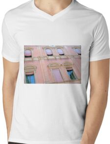 Classical building facade in pink shades Mens V-Neck T-Shirt