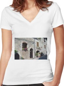 Stone street in Assisi Women's Fitted V-Neck T-Shirt