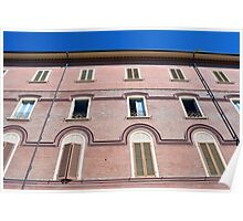 Classical building facade in pink shades Poster