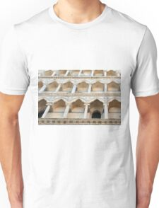 Decorative facade with columns, arches and portico. Unisex T-Shirt