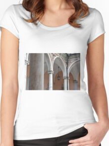 Detail of portico with arches and columns Women's Fitted Scoop T-Shirt