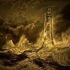 A Storm at Bell Rock Light House by Dennis Melling