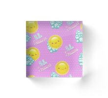 Vector illustration seamless pattern of funny cartoon sun with different emotions. Acrylic Block