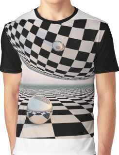 Checkered Surreal Horizon Graphic T-Shirt