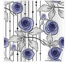 Blue Roses on a striped background. Poster