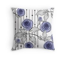 Blue Roses on a striped background. Throw Pillow