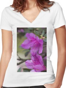 flowers in spring Women's Fitted V-Neck T-Shirt