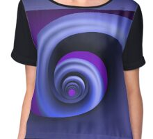 Abstract Blue Spiral Spring Chiffon Top