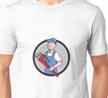 Handyman Holding Pipe Wrench Circle Cartoon Unisex T-Shirt