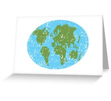 World map distressed Asia, Africa, Europe Greeting Card