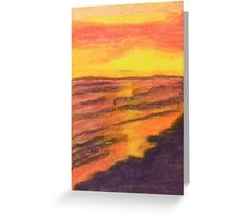 Sunset Reaching For Beach Greeting Card