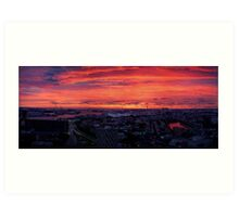 Rotterdam Sunset Panorama, from Euromast Art Print