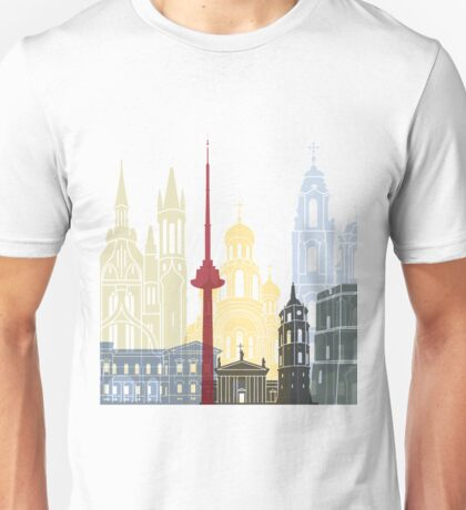 Vilnius skyline poster Unisex T-Shirt