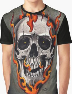 Skull in Flames  Graphic T-Shirt