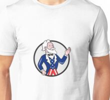 Uncle Sam American Waving Hand Circle Cartoon Unisex T-Shirt