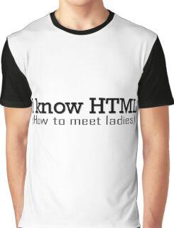 I Know HTML Programming Funny Humor Programmer Jokes  Graphic T-Shirt