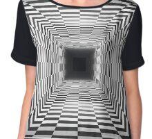 Checkered Hall Depth Optical Illusion Chiffon Top