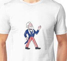 Uncle Sam Waving Hand Standing Cartoon Unisex T-Shirt