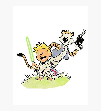Calvin and Hobbes Star Wars Photographic Print