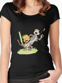 Calvin and Hobbes Star Wars Women's Fitted Scoop T-Shirt